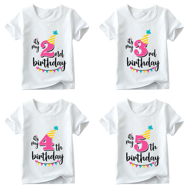 Girls Happy Birthday Number 1 7 Print T Shirt Baby Summer White Kids Present ClothesHKP2432
