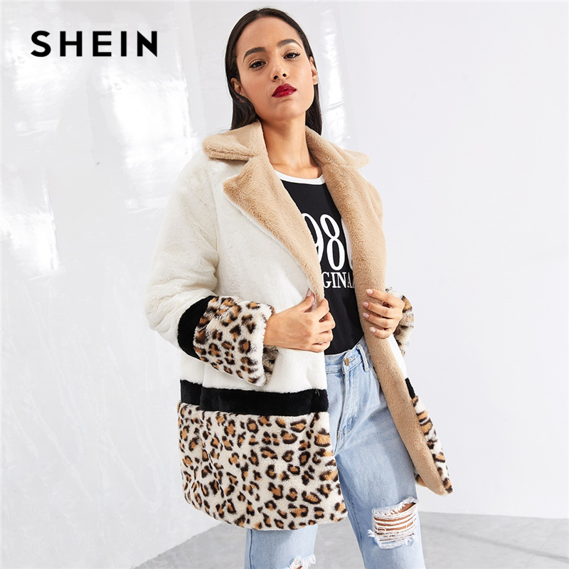 be80386d59 SHEIN Multicolor Highstreet Cut and Sew Leopard Panel Faux Fur Teddy Coat  Weekend Casual Elegant Women