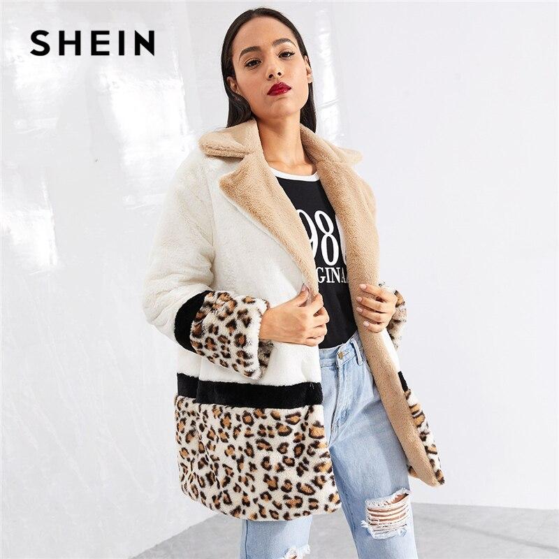 SHEIN Multicolor Highstreet Cut and Sew Leopard Panel Faux Fur Teddy Coat Weekend Casual Elegant Women Coats Outerwear
