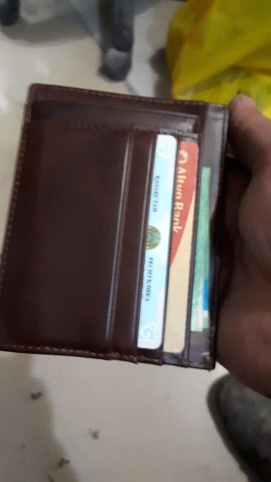 Oufankadi Genuine Leather Slim Card Holder Brand Designer Vintage Credit Cards Organizer Small Thin Purse Men Mini Wallet VKB012 photo review
