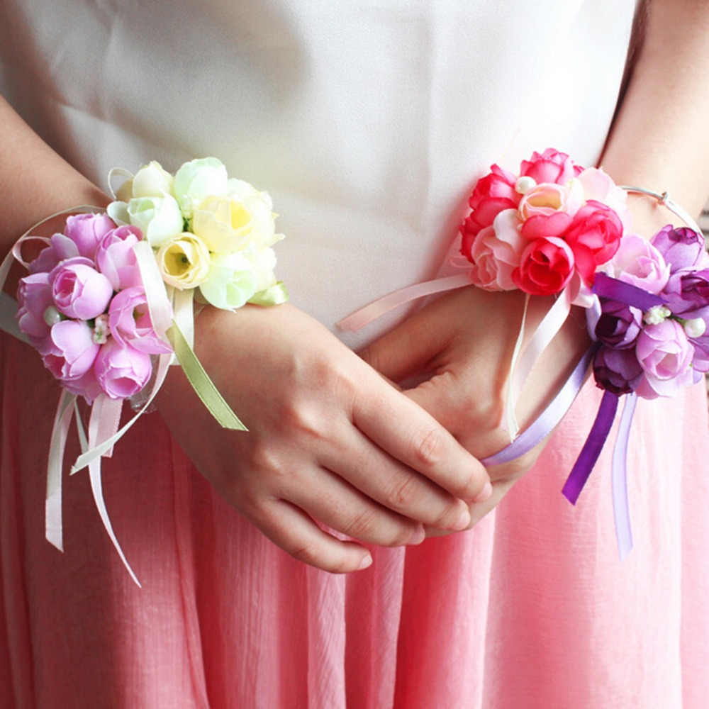 f0594eea49 US $0.75 |5 colours Artificial Rose Wrist Corsage Bridesmaid Sisters hand  flowers Bride Flowers For Bridal Prom Wedding Party Decoration-in  Artificial ...