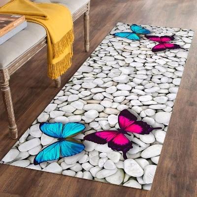 Else Pink Blue Butterfly White Gray Stones 3d Print Non Slip Microfiber Washable Long Runner Mats Floor Mat Rugs Hallway Carpets