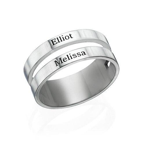 Personnalisé deux nom anneau amoureux personnalisé gravé votre nom bague de fiançailles bague de mariage cadeau anniversaire maman cadeau anniversaire