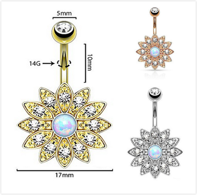 Belly Button Ring Jeweled Flower Navel Piercing Bar 14G Sparkly White Fire Opal Flower belly button jewelry