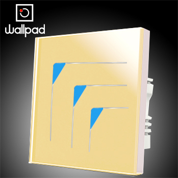 Wholesale Wallpad Luxury Gold Wall Switch Panel Light Switch,3 Gangs 2 Way Touch Wall Switch LED 10A,110~250V 220V,Free Shipping