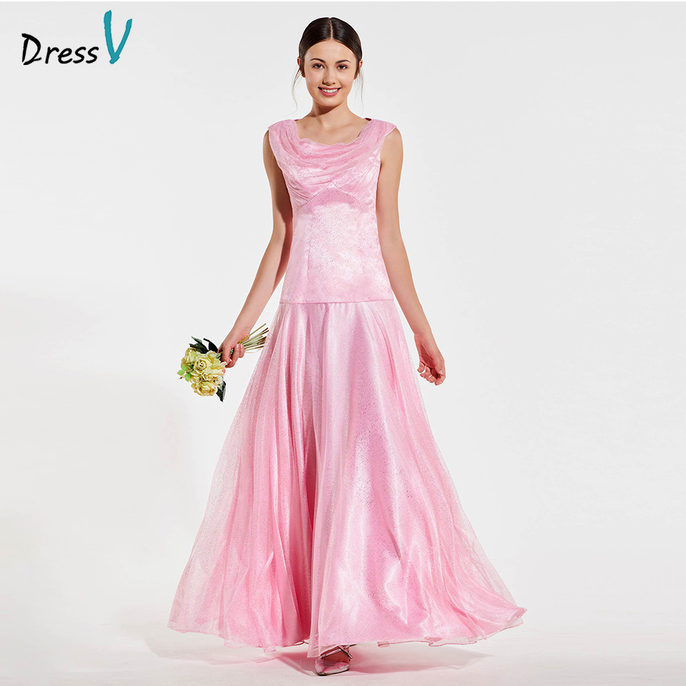 Dressv Elegant Pink Scoop Neck Bridesmaid Dress Zipper Up A Line Wedding Party Women Floor Length Bridesmaid Dress