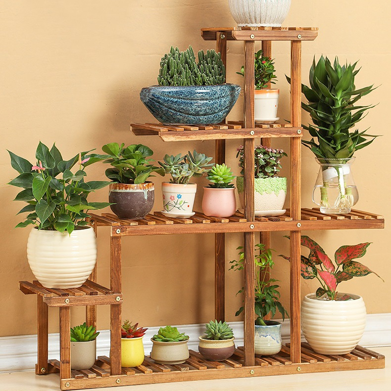 wood 4 tier flower pot racks home garden decor etagere plant pot display shelf planter stand - Outdoor Flower Pots