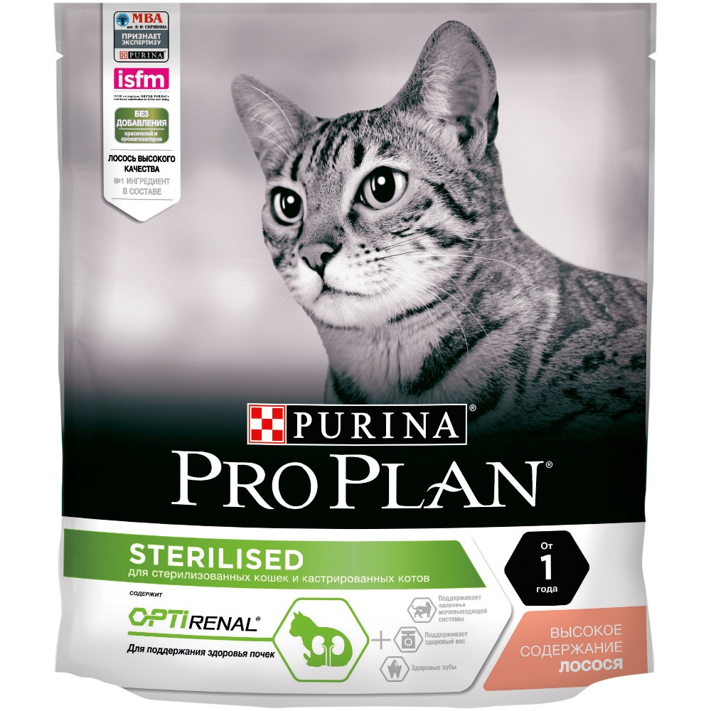 Dry food Pro plan for sterilized cats and neutered cats, with salmon, Package, 8 x 400