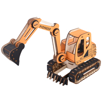 Excavator assembly wood model ships 3D diy toys for boys designer machine maquette voiture a construire juguetes