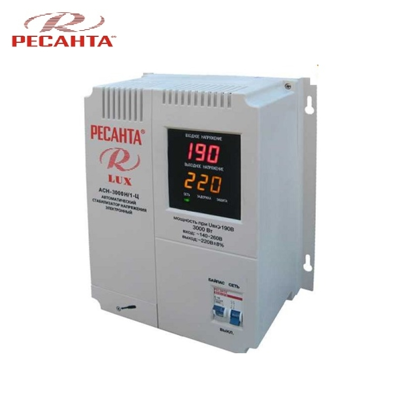 цена на Single phase voltage stabilizer RESANTA ASN-3000N/1-C LUX Relay type Voltage regulator Monophase Mains stabilizer Surge protect