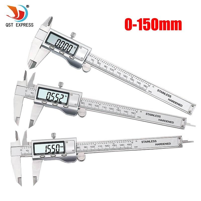 QST EXPRESO de Metal Pulgadas 150mm de Acero Inoxidable Electronic Vernier Digital Calibrador de Micrómetro de Medición