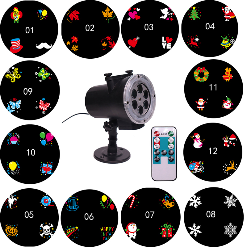 Christmas Lights Outdoor Waterproof 12 Pattern Projector Lamp Led Garden Projection Light With Remote Control EU US AU UK Plug free shipping us plug outdoor ip65 waterproof stage light christmas lights xmas light projector christmas uk us eu plug xx