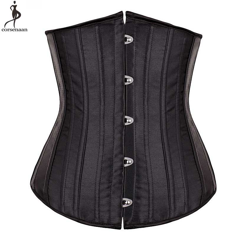 Top Quality Satin Underbust   Corset   Top Brocade   Bustier   26 Steel Boned Women Busk Korsett For Women Waist Slimming Korse Everyday