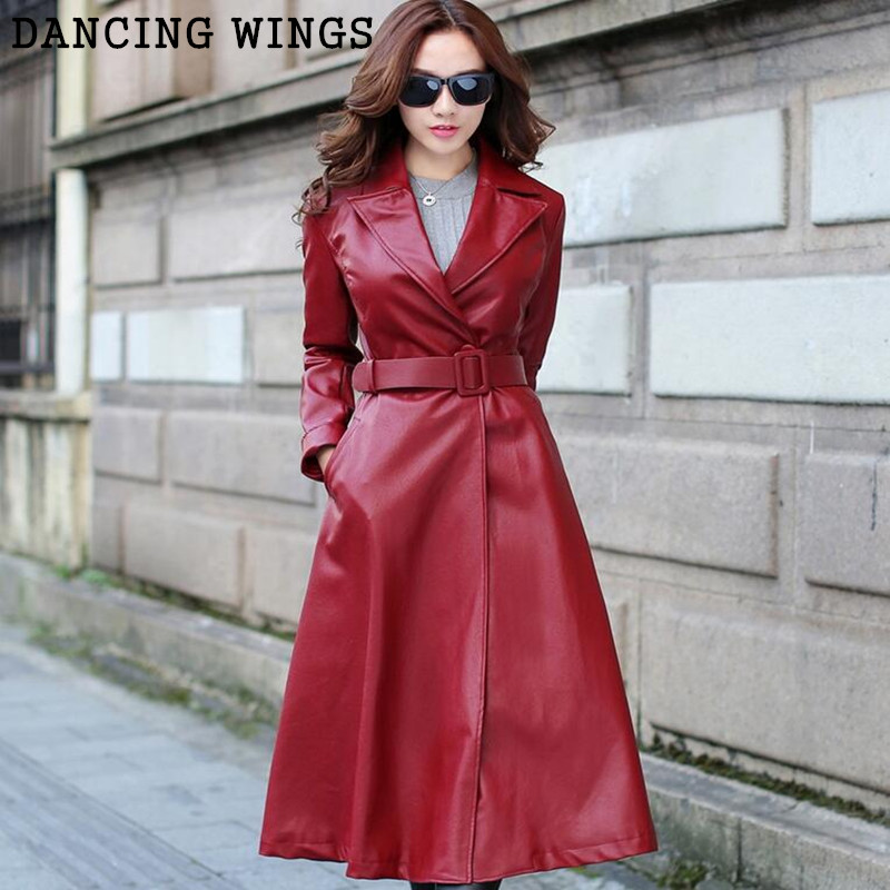 9159258fe New fashion PU leather women's autumn windbreaker slim temperament warm X  long jacket trenchcoat ...