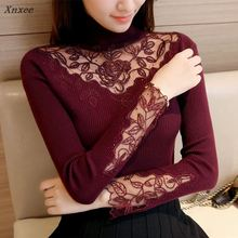 46 Korean winter clothes new slim knitted lace flower dress shirt Lapel sweater F1508 Xnxee