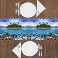 Еще зеленый остров Тропическое голубое небо под морскими рыбками 3d Рисунок Современный Настольный бегун для кухни столовая скатерть