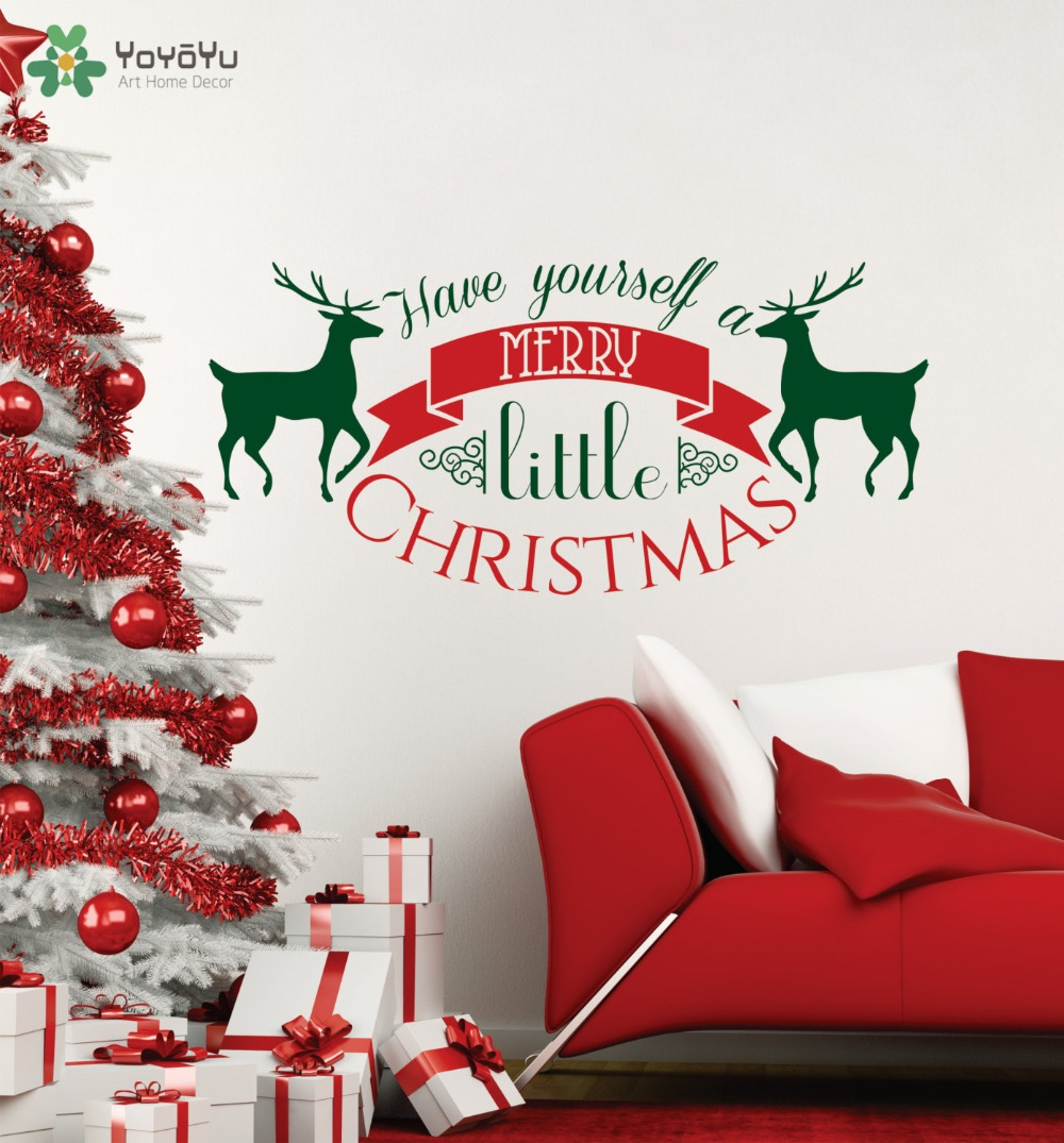 Wall Decal Vinyl Sticker 2017 Merry Christmas Have Yourself a Merry Little Christmas Santa Art Home Festival Mural Poster WW 438 in Wall Stickers from Home Garden