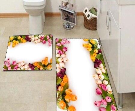Autres Roses Roses pierre noire couleur Roses fleurs impression 3d antidérapant microfibre 2 pièces tapis de bain ensemble pour salle de bain 90x60 cm 50x60 cm - 4