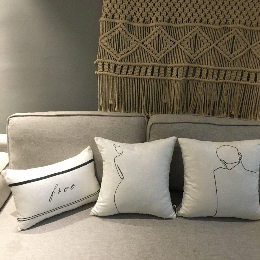 45*45 cm Simple blanc mâle et femelle couple velours housse de coussin décoratif lombaire taie d'oreiller oreiller couvre décoration de la maison