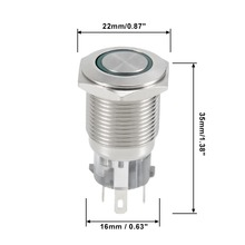 UXCELL 1 PCS Switch Momentary Metal Push Button 16mm Mounting 6V Green LED Light Accessories Dia 5A 1NO 1NC