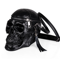 Arsmundi Originality Women Bag Funny Skeleton Head Black Handbad Men Single Package Fashion Designer Satchel Package