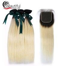 Красивые королевские волосы 10A перуанские Виргинские человеческие волосы Омбре светлые волосы 3 пучка с 4*4 Кружева закрытие 1B/613 прямые волосы