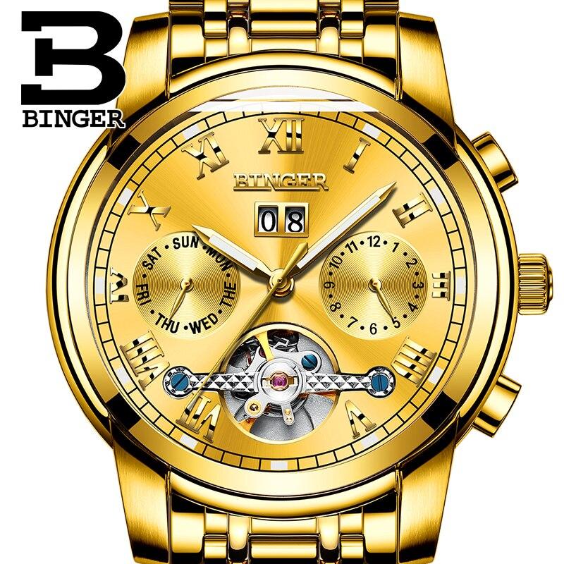 Фото Top Brand Watches BINGER Men Luxury Gold Watch Automatic Mechanical Watch Steel Strap Waterproof Free Shipping relogio masculino
