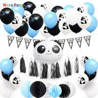 Nicro 57 pcs/set Panda Theme Kid Boy Girl Happy Birthday Decoration Kit Blue Pink Party New Home Decor DIY  #Set124