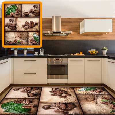 Else Green Leaves Coffee Beans Patchwork 3d Pattern Print Non Slip Microfiber Kitchen Modern Decorative Washable Area Rug Mat