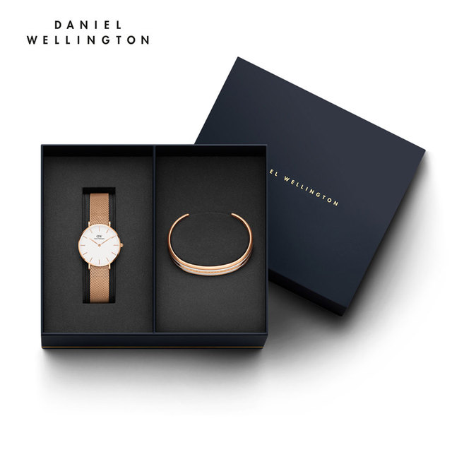 Наручные часы Daniel Wellington Classic Petite Melrose 32 мм + браслет Daniel Wellington Classic Bracelet Satin White размер S
