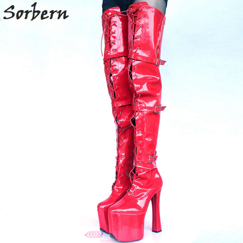 US $119.0 |Sorbern Large Size Women Boots 2018 Botines Mujer Lace Up 20CM Heels Ladies Party Shoes Night Club Gay Cosplay Over Knee Boots in
