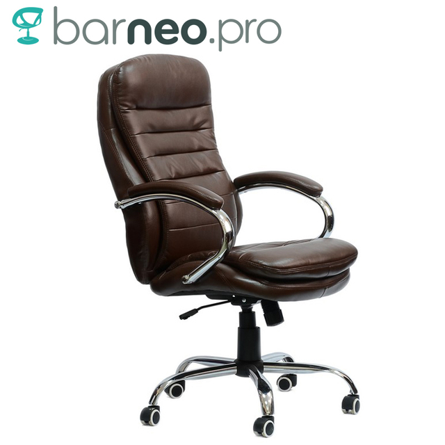 95147 Black Office Chair Barneo K 57 Eco Leather High Back Chrome