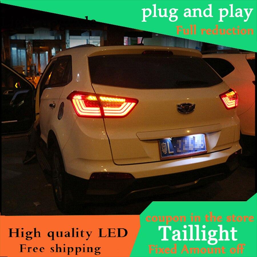 Car Styling For Hyundai Creta 2014-2017 IX25 taillights Full LED Tail Lamp rear trunk Light moving turn signal+DRL+brake+reverse