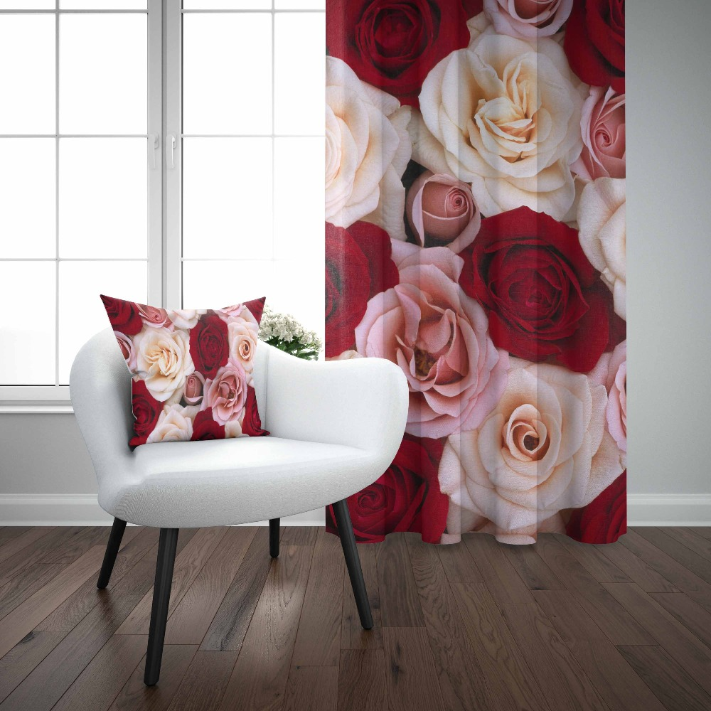 Else Red White Big Roses Flowers Floral Love Modern 3D Print Living Room Bedroom Window Panel Curtain Combine Gift Pillow Case