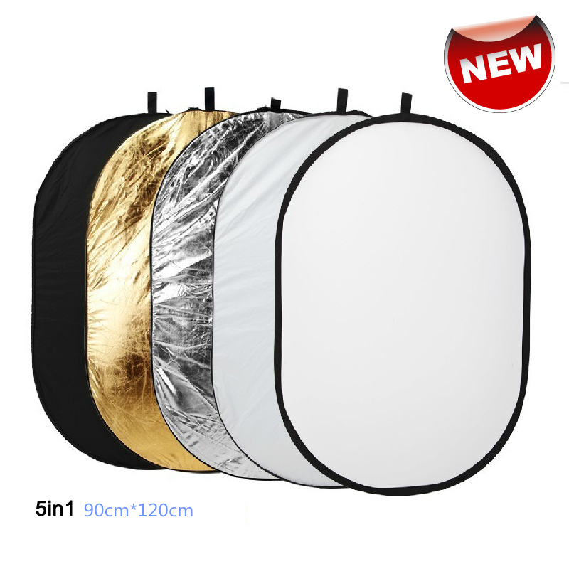 Free Shipping 90x120cm 5 in 1 Portable Collapsible Light Round Photography Reflector for Studio Multi Photo Disc accessories