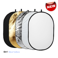 Free Shipping 90x120cm 5 In 1 Portable Collapsible Light Round Photography Reflector For Studio Multi Photo