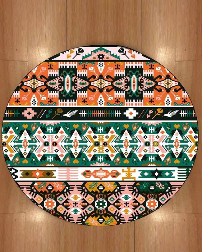 Else Brown Ethnic Orange Turkish Tradional Bohemian 3d Print Anti Slip Back Round Carpets Area Rug For Living Rooms Bathroom|Carpet| |  - title=
