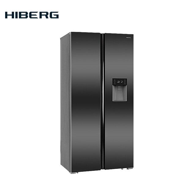 """Холодильник Side-by-Side HIBERG RFS-484DX NFXd объём 476 л, Total No Frost, 2-х -дверный, В=178 см, Ш= 83,6 см, фасад темная нержавеющая сталь цвет """"мокрый асфальт"""", диспенсер для воды на двери холодильного отделения"""