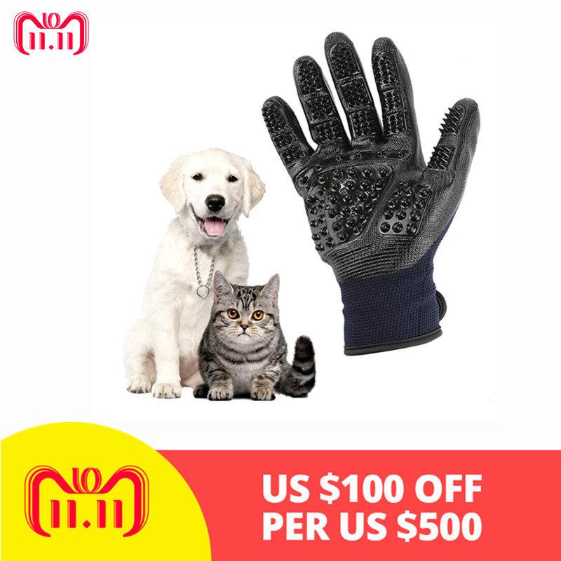 Pet Grooming Glove Dog Cat Hair Cleaning Brush Five Finger Deshedding Pet Gloves For Dog Cat Animals Guante Pelo Mascotas Guante