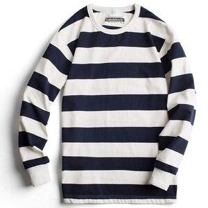 Image 2 - 魔伝メンズカジュアルプルオーバークルーネックロングスリーブストライプコットン Tシャツ青と白