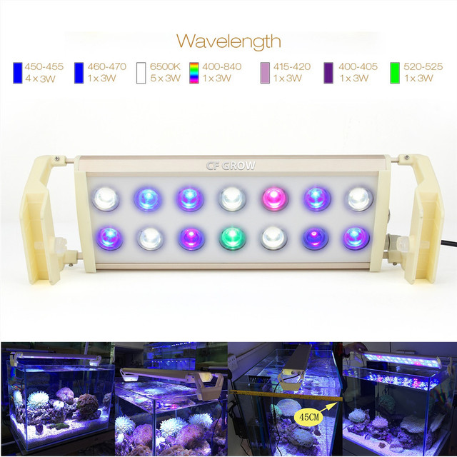 CF Grow CF-A6 42W 54W Saltwater Marine LED Aquarium Light Grow Lighting Full Spectrum SPS Coral Reef Growing Lamp Sea Fish Tank