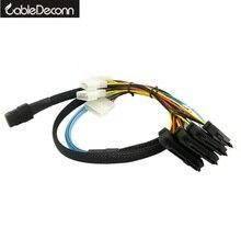 Sas Кабели SATA для жесткого диска сервера Дисплей карты мини SAS 4i SFF-8087 36Pin до 4 SAS 29Pin с волокнно-Оптической вилкой 8482 + 4pin силовой кабель длиной 1 м