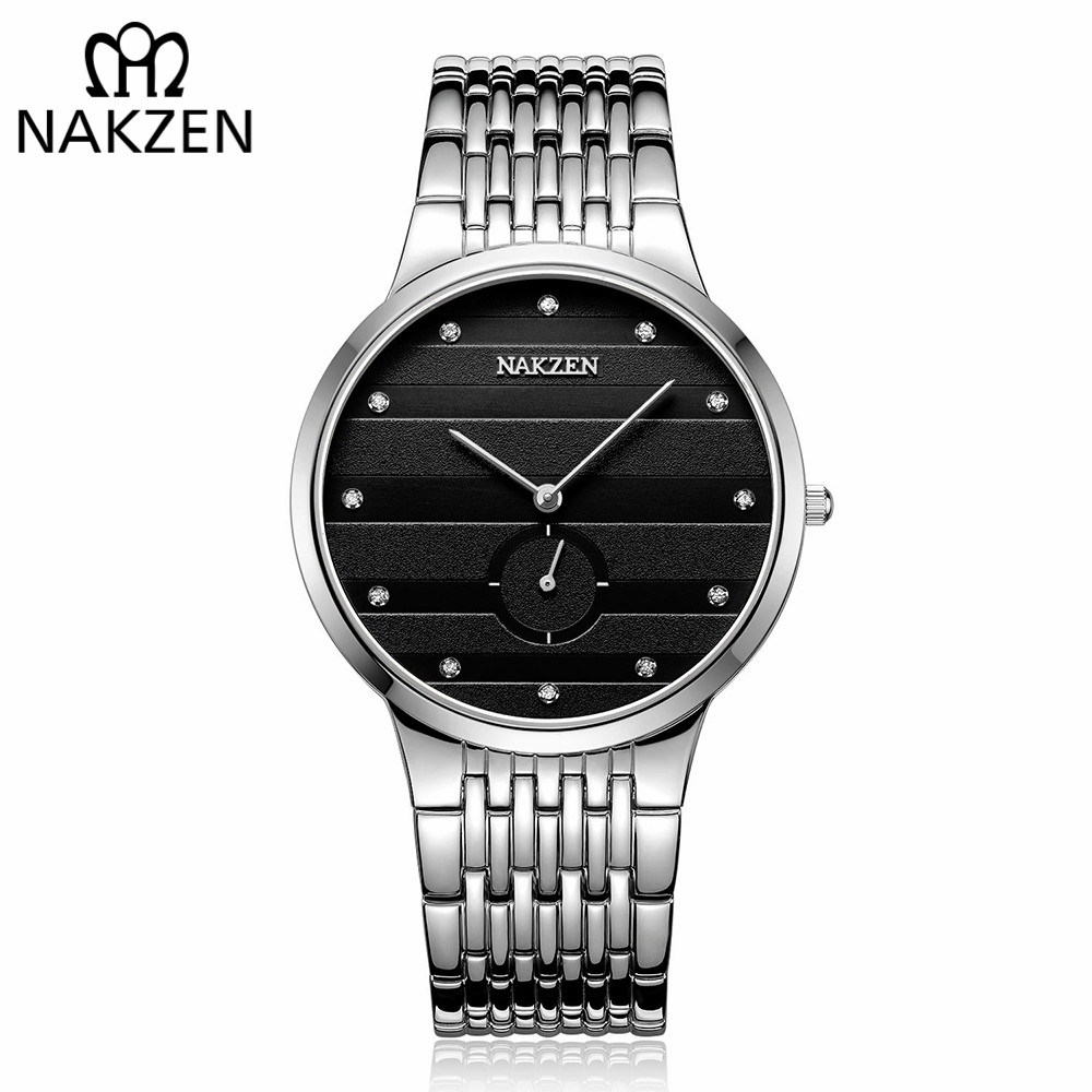 NAKZEN Commerce Diamond Men Watch Famous Luxury Brand Sapphire Watches Men's Stainless Steel Simple Black Gold Watch Male Clock onlyou fashion hot sell man all steel watches 2017 diamond bracelet business watch black gold white luxury famous male clock