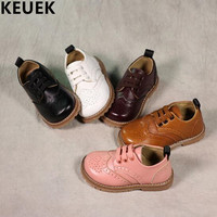 Spring Autumn Fashion Children Flats British Style Genuine Leather Kids Shoes Baby Boys Girls Leather Shoes