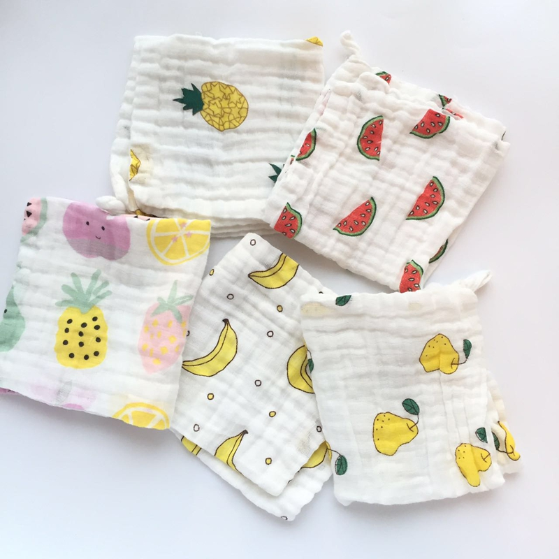 5pcs/lot baby handkerchief square fruit pattern towel 28x28cm muslin cotton infant face towel wipe cloth