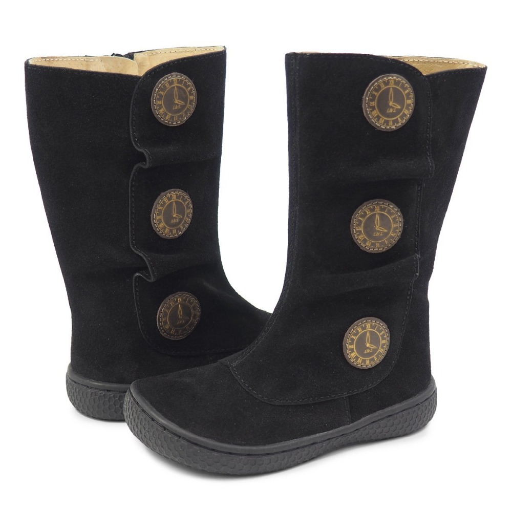 Nouveau hiver et printemps enfants pieds nus chaussures en cuir bambin bottes enfants filles en caoutchouc mode TIEMPO