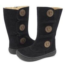 Novo inverno e primavera crianças sapatos descalços couro da criança botas crianças meninas de borracha moda tiempo