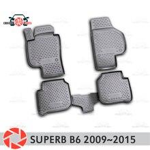Коврики для Skoda Superb B6 2009 ~ 2015 rugs Нескользящие полиуретан грязи защиты внутренних Тюнинг автомобилей аксессуары