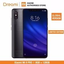글로벌 버전 xiao mi mi 8 pro 128 gb rom 8 gb ram 투명 티타늄 (신규 및 밀봉)