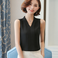 High Quality J43555 Summer Chiffon Shirt V Neck Solid Color Sleevess Office Lady Work Casual Shirts